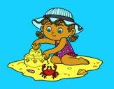 Dibujo Una niña jugando en la playa pintado por carolina0