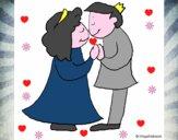 Príncipes besándose