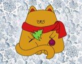 Gato con adornos navideños