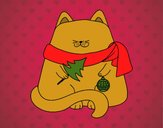 Dibujo Gato con adornos navideños pintado por amalia