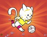 Gato jugando a fútbol