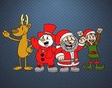 Dibujo Santa Claus y sus amigos pintado por amalia