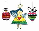 Dibujo Ángeles y bolas de Navidad pintado por fakita