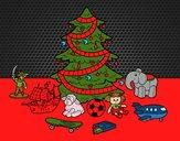 Dibujo Árbol de Navidad y juguetes pintado por amalia