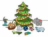 Dibujo Árbol de Navidad y juguetes pintado por fakita