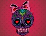 Dibujo Calavera mejicana con lazo pintado por danielalo