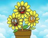 Dibujo Maceta de flores pintado por fakita