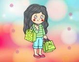 Dibujo Niña con compras de verano pintado por maleja1101