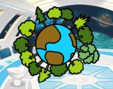 Dibujo Planeta tierra con árboles pintado por ninovalen
