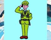 Policía saludando