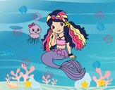 Dibujo Sirena y medusa pintado por chryss