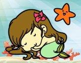 Dibujo Sirenita chibi durmiendo pintado por sandraXD
