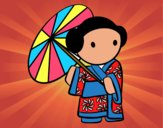 Dibujo Geisha con sombrilla pintado por nido