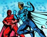 Héroe y villano luchando