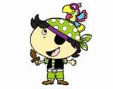 Dibujo Pirata niño con loro pintado por evaline