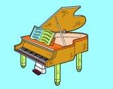 Un piano de cola abierto