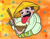 Chino comiendo arroz
