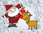 Dibujo Papá Noel y Rudolf pintado por juge_mar