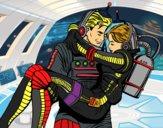 Dibujo Astronautas enamorados pintado por Fuchs