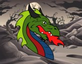 Dibujo Cabeza de dragón europeo pintado por nenita5