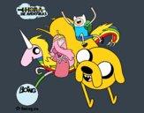 Dibujo Jake, Finn, la princesa Chicle y Lady Arco Iris pintado por PUDDIN
