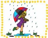 Niña con paraguas bajo la lluvia