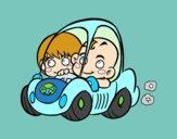 Niños conduciendo
