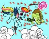 Dibujo Rainbow Dash y la tortuga tanque pintado por KARLITAVAL
