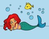 Dibujo Sirena Bonita pintado por piliannis1