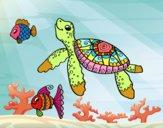 Dibujo Tortuga de mar con peces pintado por dandanhooo