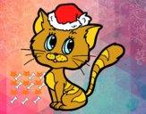 Dibujo Un gato navideño pintado por karen201