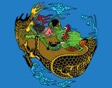 Dibujo Dragón en bola pintado por carlitoslo
