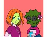 Dibujo Sakura y Lisa pintado por macri