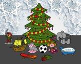Dibujo Árbol de Navidad y juguetes pintado por guemes364