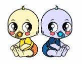 Dibujo Bebés gemelos pintado por dandanhooo