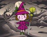 Niña bruja de Halloween
