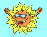 Dibujo Un sol con gafas de sol pintado por kame01
