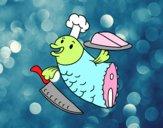 Dibujo Chef Pescado pintado por daniela102