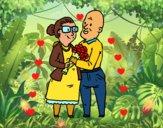 Dibujo Abuelos enamorados pintado por falan