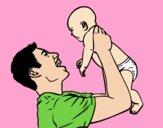 Dibujo Padre y bebé pintado por elenablanc