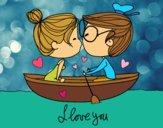 Dibujo Beso en un bote pintado por yussette