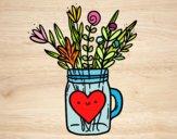 Dibujo Bote con flores silvestres y un corazón pintado por yussette