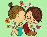 Dibujo Dos jóvenes enamorados pintado por yussette