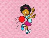 Dibujo Niña con balón pintado por dandanhooo