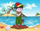 Dibujo Niño pescador pintado por JOSEMG