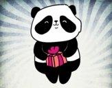 Dibujo Panda con regalo pintado por yussette