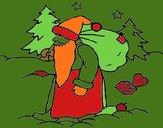 Papa Noel repartiendo regalos