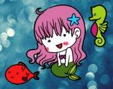 Dibujo Sirenita y sus amigos pintado por elsalinda