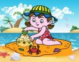 Dibujo Una niña jugando en la playa pintado por JOSEMG