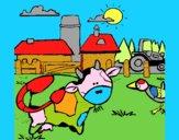 Vaca en la granja